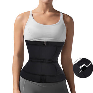 Latex Body Shaper Waist Trainer 7 Steel Bones Trimmer Corset Double Waist Belt Cincher Zip Clip Workout Shapewear Slimming