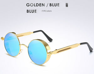 Gold Metal Polarized Sunglasses Gothic Steampunk Womens Fashion Retro Vintage Shield Eyewear