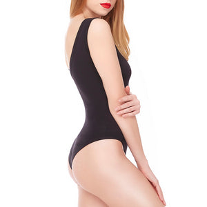 Women's Basic Tank Top Body Shaper Round Scoop Neck Cotton Crotch Leotard Bodysuit Lingerie Sexy Shapewear