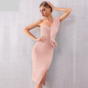 New Summer Women Bandage Dress Celebrity Evening Party Dresses Sexy One Shoulder Ruffles Bodycon Club Dress Vestidos