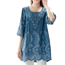 Load image into Gallery viewer, Summer Blouse Women Tops Embroidery Beads Vintage Plus Size