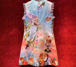 Colorful Lace Patchwork Cartoon Printed Short Dress Women's Sleeveless Jacquard Autumn Runway A-Line Mini Dresses