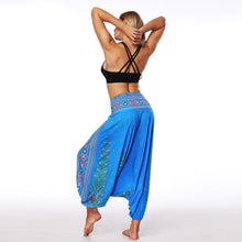 Load image into Gallery viewer, Yoga Legging blue leaf national costume new  relaxed travel holiday multipurpose Loose Lounge lantern yoga pants