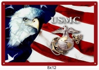 USMC Eagle Flag Sign 8x12