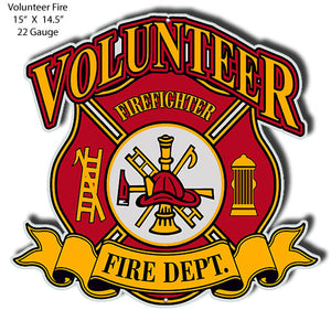 Volunteer Fire Dept Cut Out Man Cave Metal Sign 14.5x15