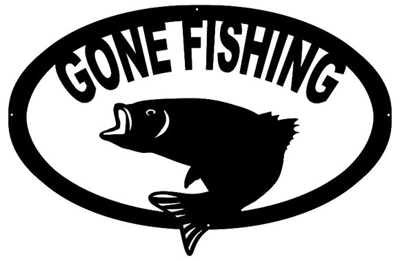 Gone Fishing Laser Cut Out Wall Décor Silhouette Metal Sign 15.5x23.5