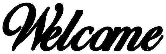 Welcome Laser Cut Out Wall Décor Silhouette Metal Sign 7.5x23.5
