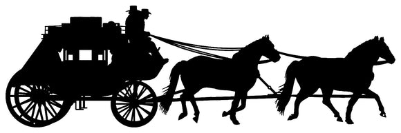 Horse Drawn Carriage Cut Out Wall Décor Silhouette Metal Sign 11x35