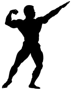 Body Builder Man Cut Out Wall Décor Silhouette Metal Sign 18x23
