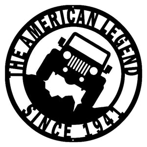 American Legend Jeep Cut Out Wall Art Silhouette Metal Sign 14x14