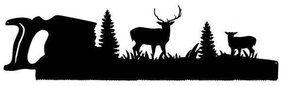 Forest Saw Laser Cut Out Wall Art Silhouette Metal Sign 9.5x33.5