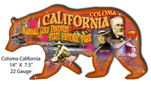 Coloma California Cut Out Bear Metal Sign By Phil Hamilton