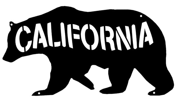 California Bear Laser Cut Out Wall Décor Silhouette Metal Sign 7.5x14