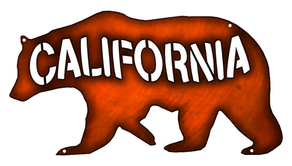 California Bear Cut Out Faux Copper Finish Metal Sign 7.5x14