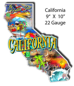 California Golden State Cut Out Metal Sign By Phil Hamilton 9x10