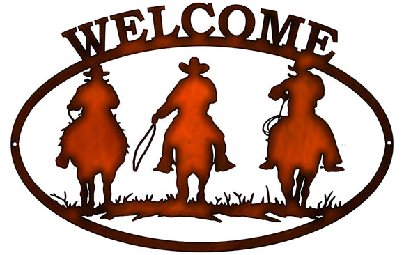 Welcome Cowboys Cut Out Faux Copper Finish Metal Sign 12x18
