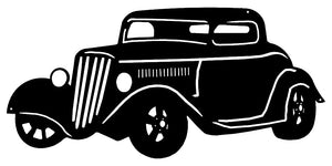 Hot Rod Black Laser Cut Out Silhouette Metal Sign 24x11.5