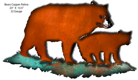 Bears Faux Copper /Patina Laser Cut Out By Phil Hamilton 23x13.5