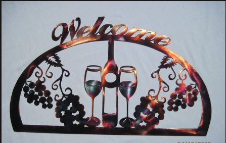 WINE 1/2 OVAL WELCOME Metal Sign