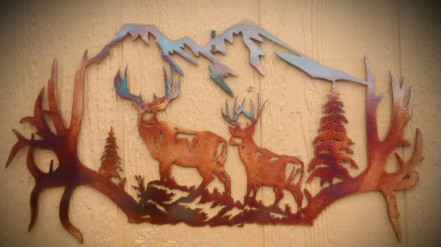 Antler Frame Metal Sign
