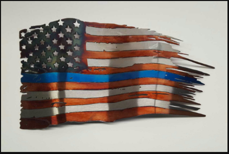 Police Blue Line Flag- Tattered Battled Flag