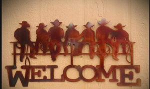 Cowboy on Fence Welcome Metal Sign