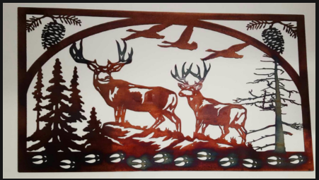 DEER SCENE METAL SIGN