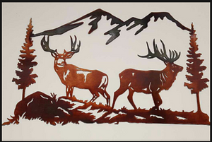 ELK DEER SCENE METAL SIGN