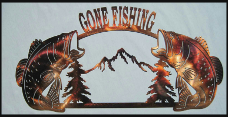 TROUT - GONE FISHING METAL SIGN