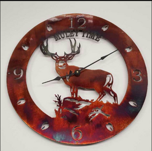 MULE DEER COPPER CLOCK