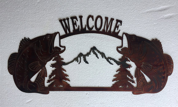 BASS W/ MOUNTAIN WELCOME Copper Metal Sign