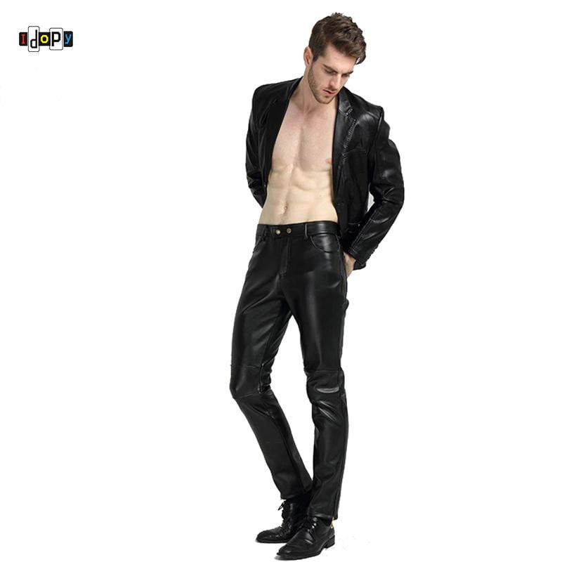 1633b2f25986e4 Idopy Men`s Faux Leather Pants With Ankle Zipper Hip Hop Dancer Stage  Performance Party Gothic Punk Black PU Leather Trousers