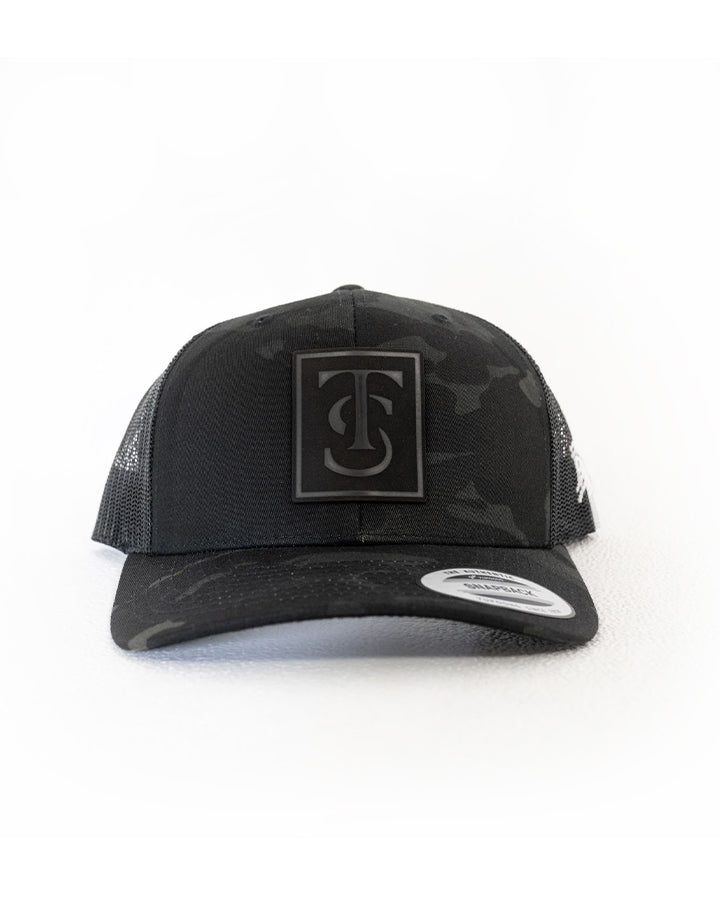 Midnight Leather Patch Trucker - Black Camo