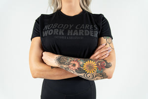 Load image into Gallery viewer, Women's Nobody Cares Work Harder Crop Tee - Black