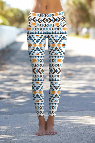 Etno Chic Lucy Printed Performance Yoga Leggings - - coolfuel