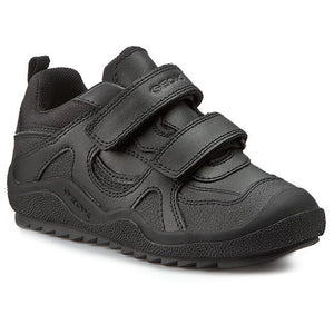 Geox Boys Black Leather School Shoes with Velcro Fastening