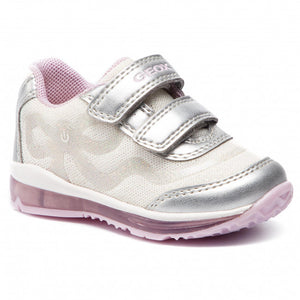 Light up sparkly white and Pink Geox runner with velcro straps
