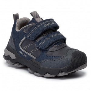 Soft leather Navy boys shoe with double velcro closure