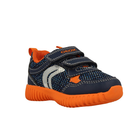 Geox Junior Trainers B Waviness Navy Orange