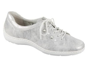 Henni Metallic Silver Ladies Laced Shoes for Orthotics