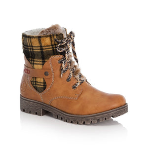tan lace up boot with fluffy tongue and yellow tartan cuff