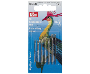 Prym Set of 16 Embroidery Crewel Needles