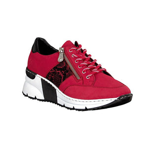 red and black chunky trainers