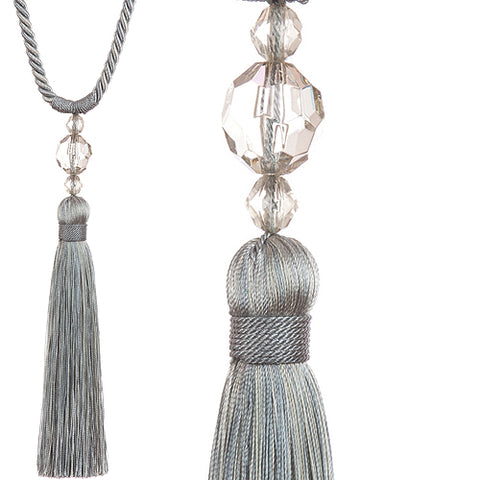 Jones Pixie rope curtain tieback in Silver. The Pixie is a neat, affordable and contemporary rope tieback with a decorative acrylic bead mould.