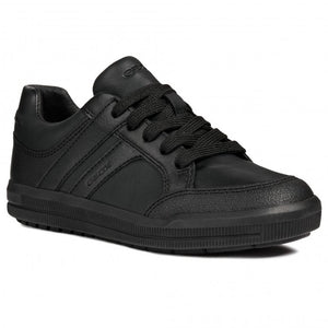 Geox Black Leather Back to School Boys Lace-Up Trainers