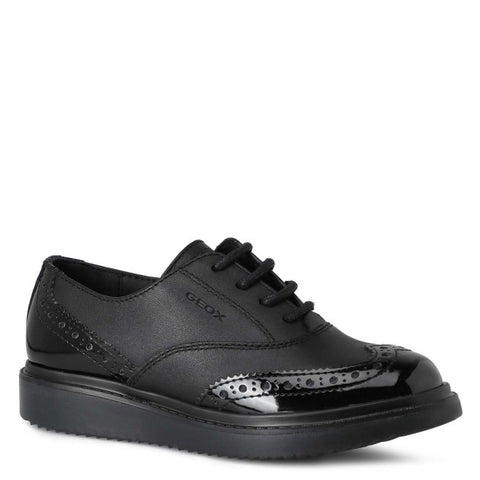 Geox Girls Black Shool Shoes J744FE