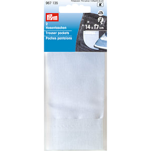 Prym 2 White Cotton Trouser Pockets