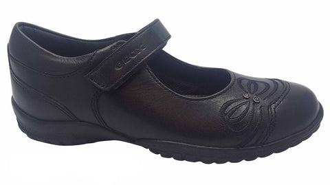 Geox Girls Black School Shoe J847VC