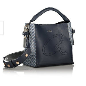 Blue hand bag with strap