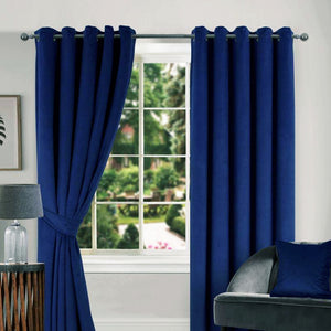 Thermal Navy Velour Curtains